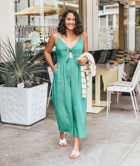 Green Jumpsuit, Striped Sweater, White Grecian Sandals Los Angeles
