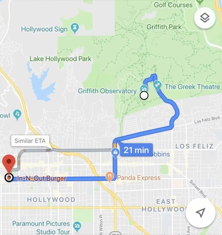 directions from In-N-Out Burger to the Griffith Observatory
