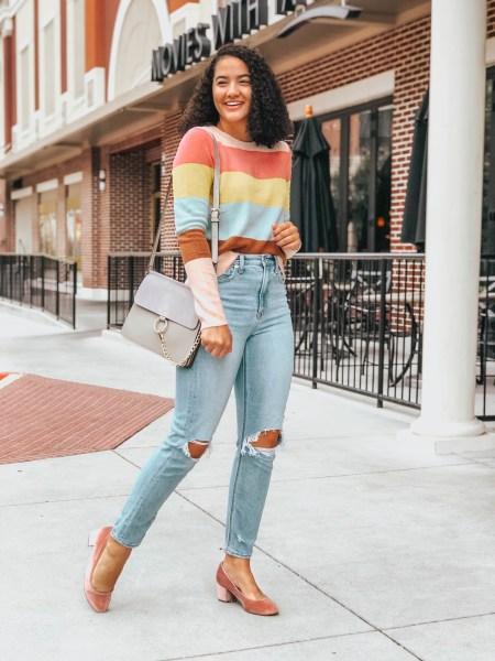 Striped Sweater from Nordstrom Anniversary Sale, Busted Knee Jeans American Eagle, Blush Velvet Shoes LOFT, Amazon Fashion Bag