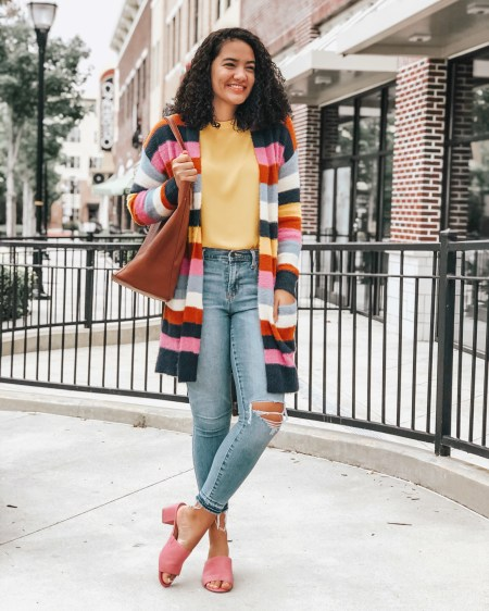 Striped Cardigan Nordstrom, Yellow Blouse LOFT, Ripped Jeans Old Navy, Pink Mules Old Navy, BP Tote Bag Nordstrom