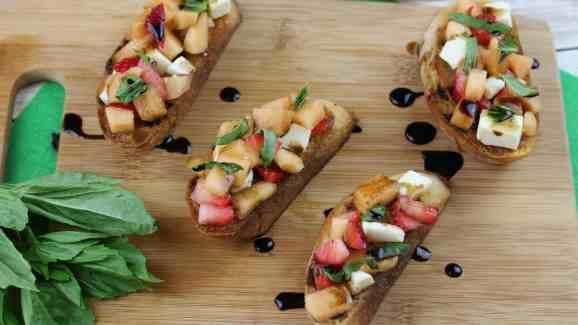 Cantaloupe Prosciutto Bruschetta 1-3