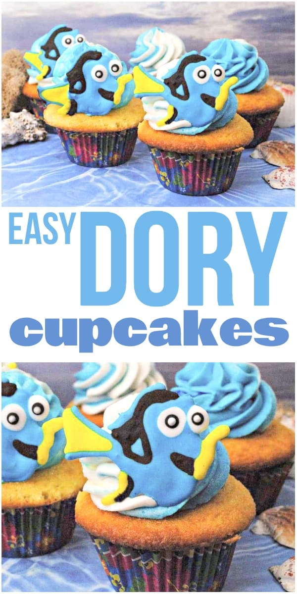 photo collage of cupcakes with fish decorations on top with text which reads easy dory cupcakes