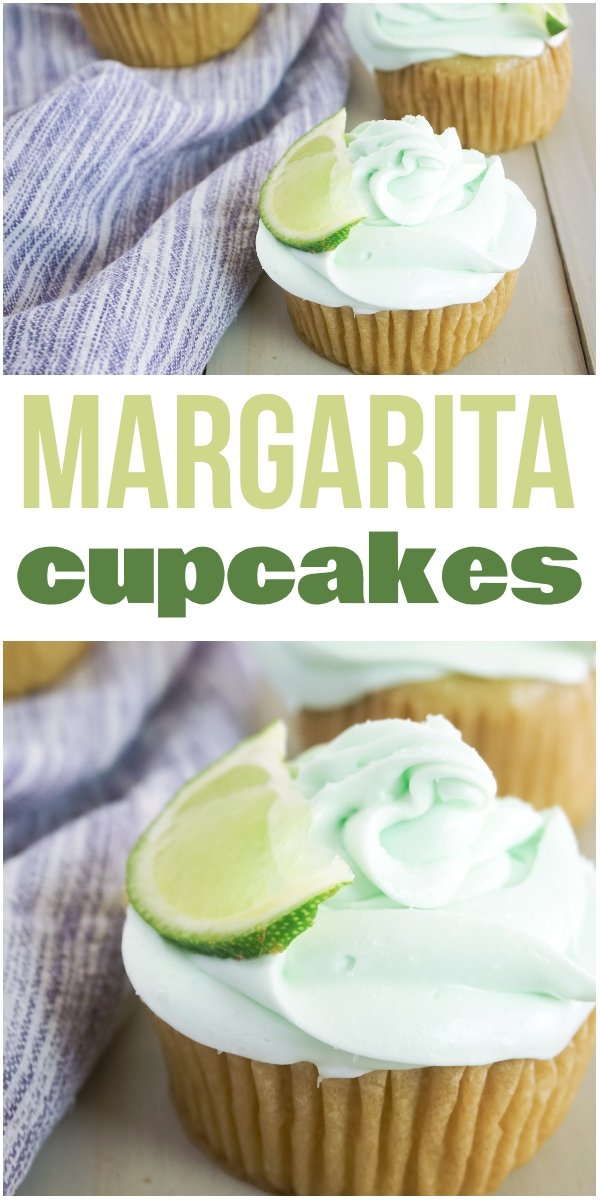 photo collage of Tequila-Infused Margarita Cupcakes topped with green frosting and a slice of lime on a wood table next to a purple linen with title text reading Margarita Cupcakes