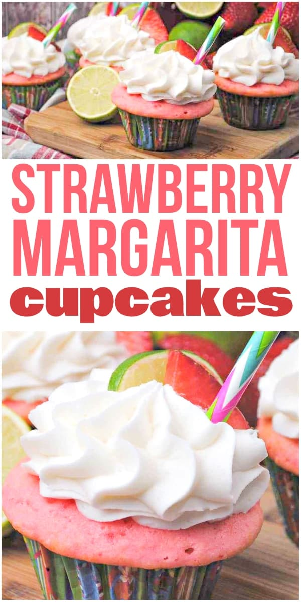 photo collage of strawberry cupcakes with tequila inside with text which reads strawberry margarita cupcakes