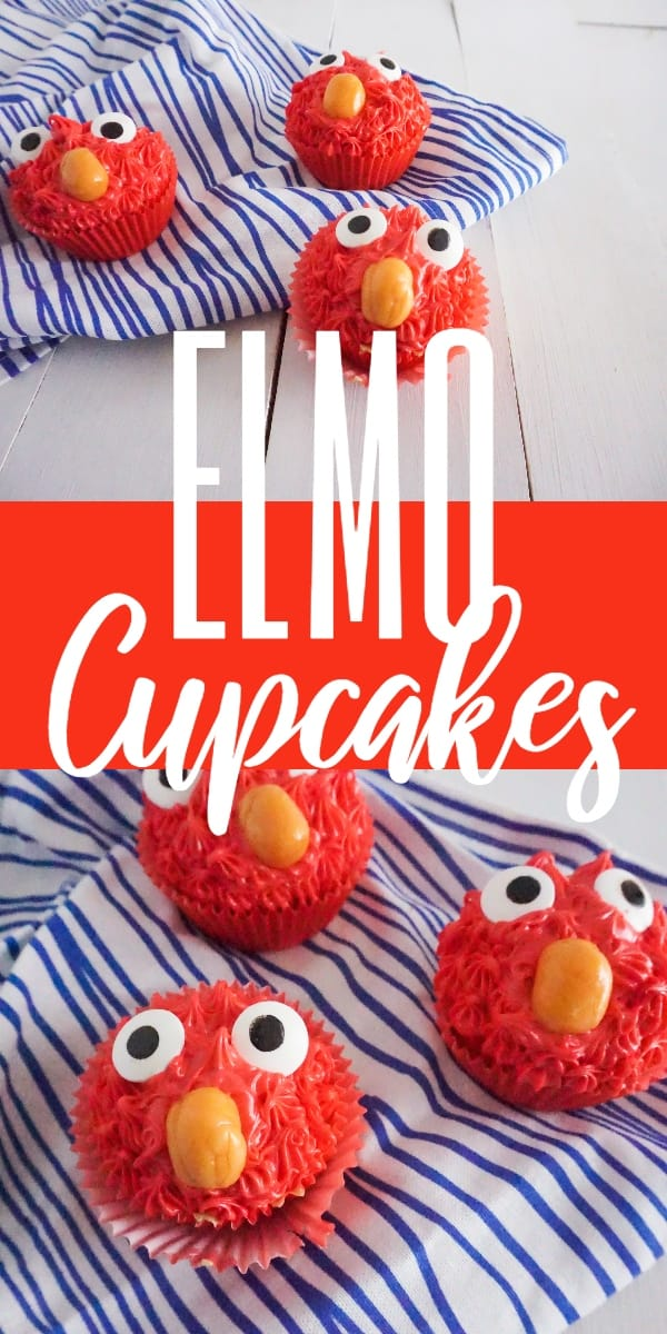 a collage of three cupcakes made to look like Elmo with red frosting, candy eyes and an orange starburst as a nose, on a wood table and a white and blue striped linen with title text reading Elmo Cupcakes