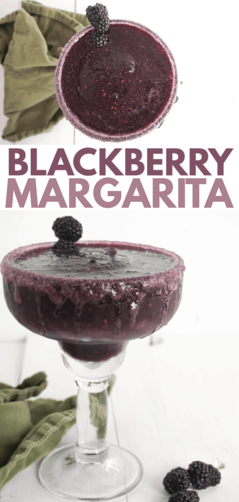 photo collage of blackberry margarita in a margarita glass with text which reads blackberry margarita