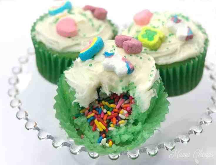 Lucky Charms Rainbow Surprise Cupcakes