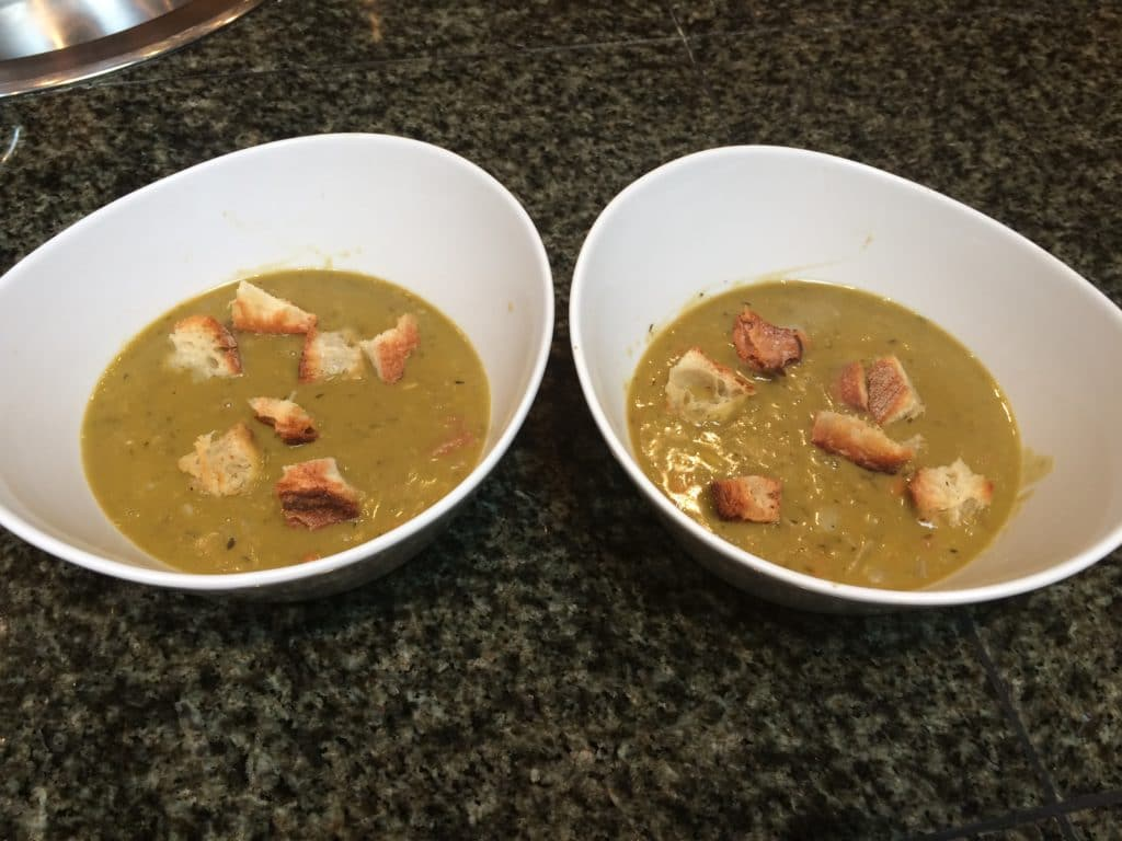 Ham soup with croutons