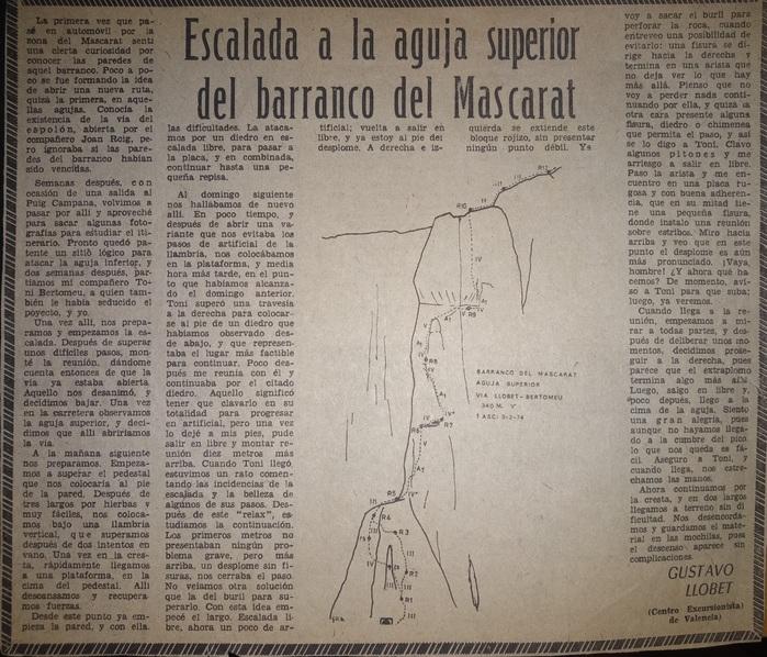 Llobet Bertomeu Aguja Superior Mascarat articulo Diario Levante SERAC COMPAÑÍA DE GUÍAS