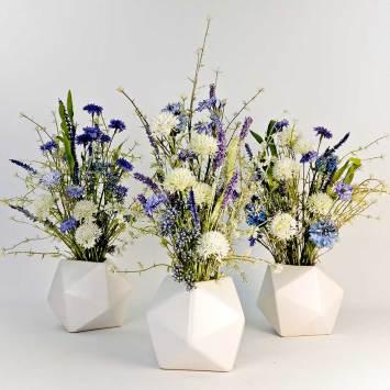 Jarrón GEO con flores de tela