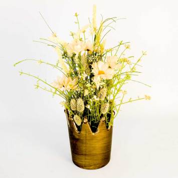 Jarrón Krone con flores de tela