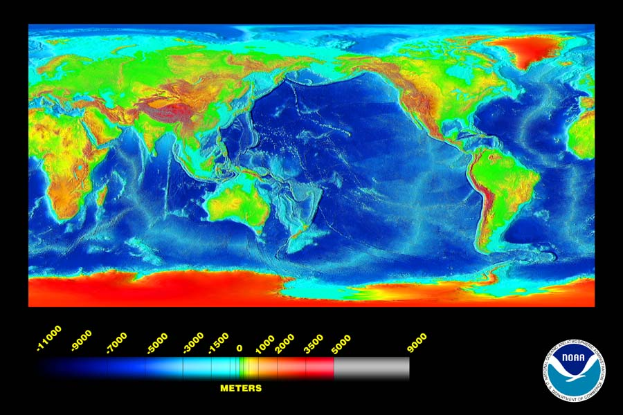 Ocean Temperature And Heat Content Watts Up With That - Map showing ocean depths