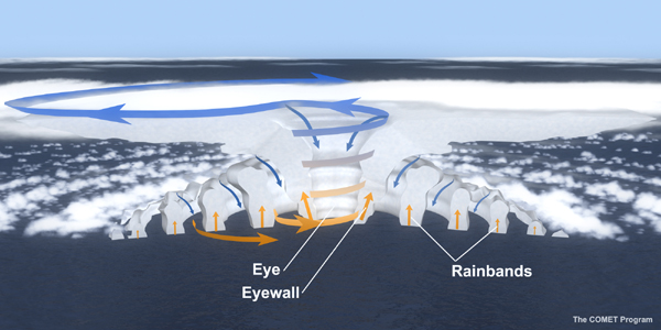 Structure of airflow around the eye of a hurricane