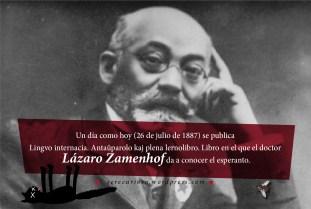 """26 de julio de 1887: se publica """"Lingvo internacia. Antaŭparolo kaj plena lernolibro"""". Libro en el que el doctor Lázaro Zamenhof da a conocer el esperanto."""