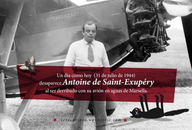 31 de julio de 1944: desaparece Antoine de Saint-Exupéry al ser derribado con su avión en aguas de Marsella.