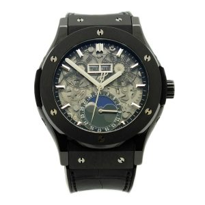 Hublot Classic Fusion Aerofusion Moonphase Black Magic in satin finished black ceramic, sapphire crystal skeleton dial with silver tone index hour markers
