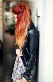 ombre hair, red to orange ♥