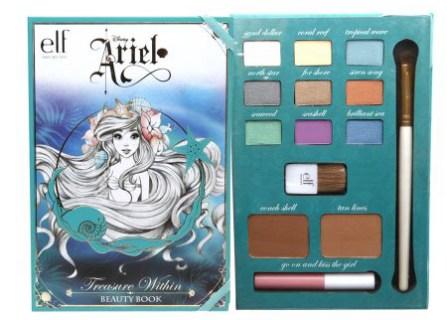 paleta de sombras, blush, bronzer, lip gloss, pincéis, livrinho com dicas de beleza