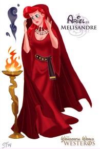 Ariel em versão Melisandre de Game of Thrones pelo artista DjeDjehuti