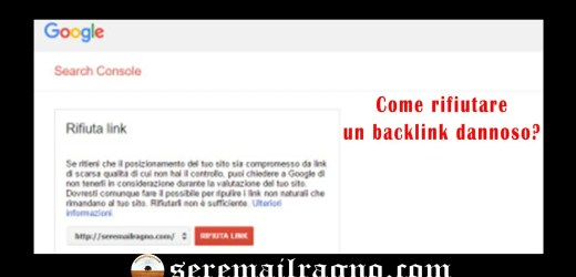 Rifiuto dei backlink dannosi in Google Search Console