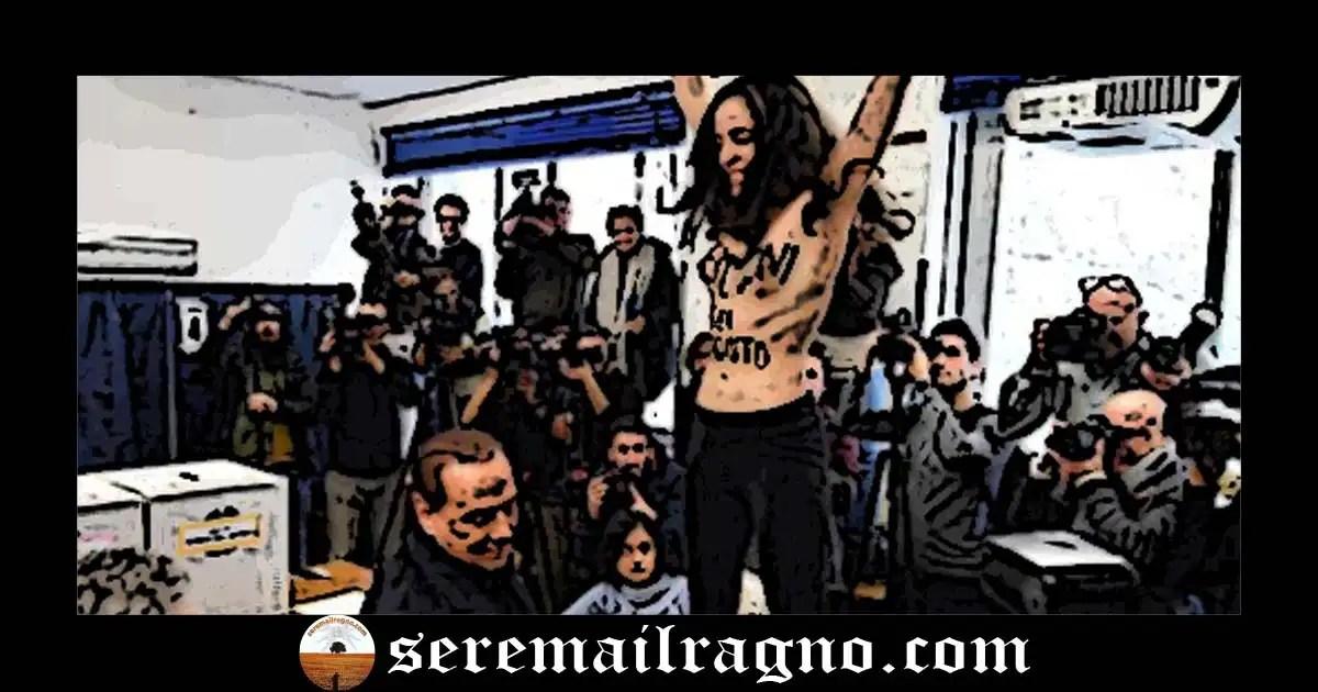 Berlusconi sei scaduto: la protesta della femen al seggio