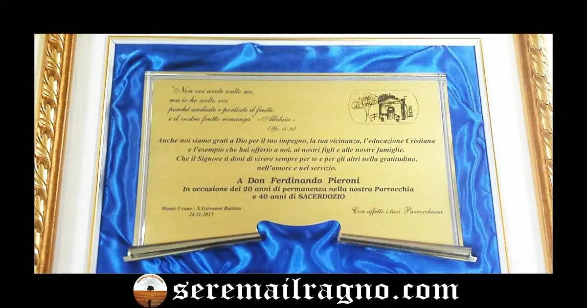 Monte Urano: festa per i 45 anni di sacerdozio di Don Ferdinando Pieroni