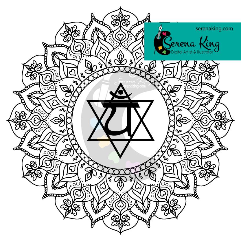 Heart Mandala Chakra Coloring Page