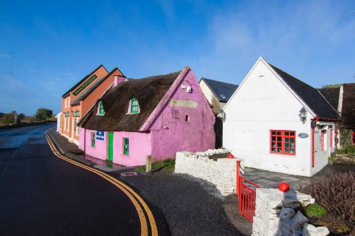 The colorful village of Doolin, famous for sweater shops and traditional music, in County Clare.