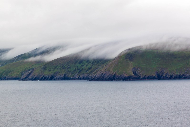 Morning fog rolls over the Blasket Islands in County Kerry.