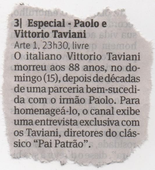 2018-04-19 Folha de SP - Vittorio Taviani - Arte1