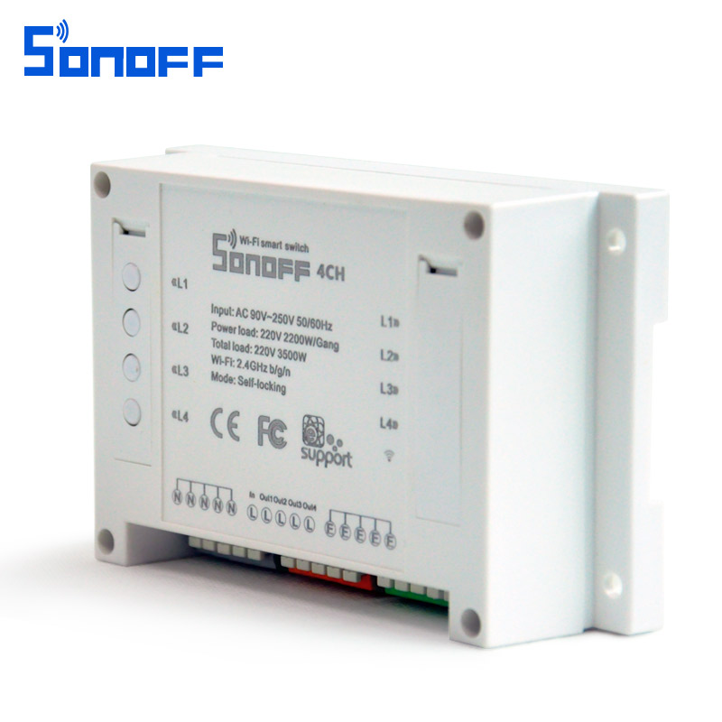 SONOFF 4CH 4 Channel 10A 2200W 2 4Ghz Smart Home WIFI Wireless Switch APP  Remote Control AC 90V-250V 50/60Hz Din Rail Mounting Home Automation Module