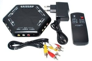 4 WAY PORT VIDEO AUDIO SELECTOR SWITCH REMOTE