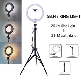 1M Tripod LED Ring Light with Tripod Stand Dimmable Selfie Ring Light LED Camera or Mobile Phone