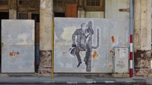 Un collage mystérieux sur panneau de zinc, Prado, Habana Vieja 2017