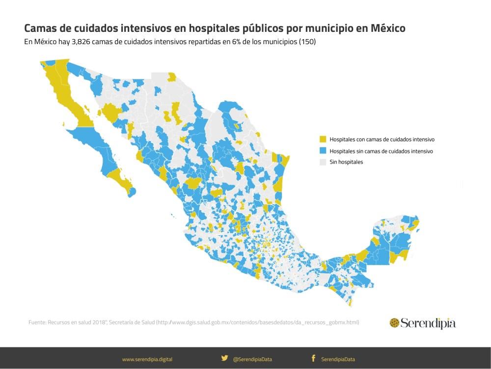 Camas de cuidados intensivos en hospitales públicos por municipios en México.