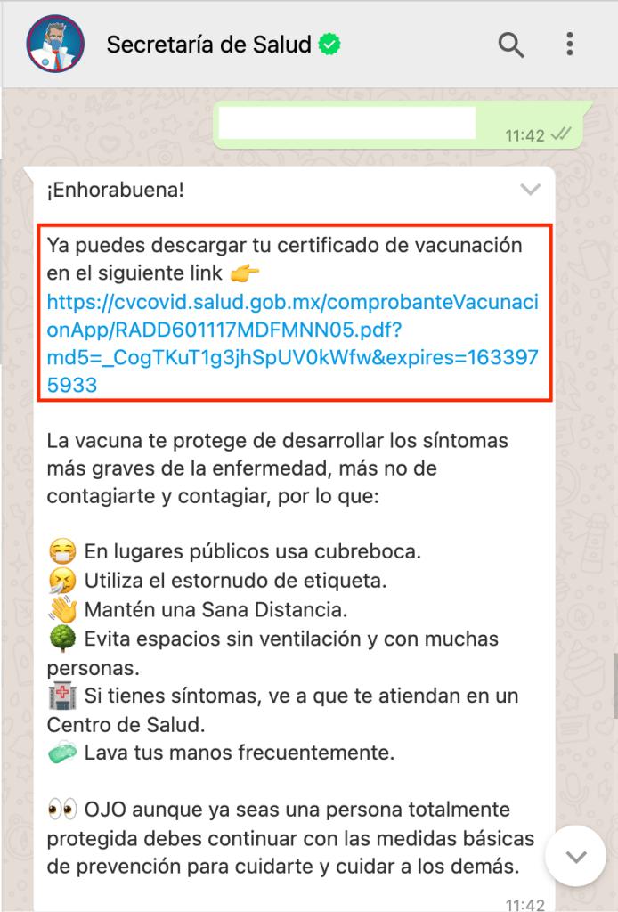 certificado de vacunación por whatsapp