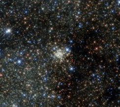 This new NASA/ESA Hubble Space Telescope image presents the Arches Cluster, the densest known star cluster in the Milky Way. It is located about 25 000 light-years from Earth in the constellation of Sagittarius (The Archer), close to the heart of our galaxy, the Milky Way. It is, like its neighbour the Quintuplet Cluster, a fairly young astronomical object at between two and four million years old. The Arches cluster is so dense that in a region with a radius equal to the distance between the Sun and its nearest star there would be over 100 000 stars! At least 150 stars within the cluster are among the brightest ever discovered in the the Milky Way. These stars are so bright and massive, that they will burn their fuel within a short time, on a cosmological scale, just a few million years, and die in spectacular supernova explosions. Due to the short lifetime of the stars in the cluster, the gas between the stars contains an unusually high amount of heavier elements, which were produced by earlier generations of stars. Despite its brightness the Arches Cluster cannot be seen with the naked eye. The visible light from the cluster is completely obscured by gigantic clouds of dust in this region. To make the cluster visible astronomers have to use detectors which can collect light from the X-ray, infrared, and radio bands, as these wavelengths can pass through the dust clouds. This observation shows the Arches Cluster in the infrared and demonstrates the leap in Hubble's performance since its 1999 image of same object.