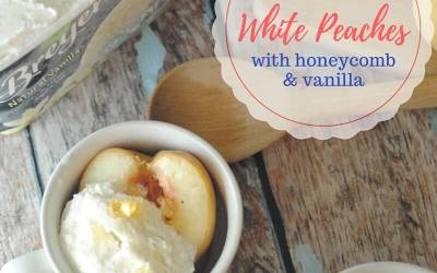 Roasted White Peaches with Honeycomb and Vanilla