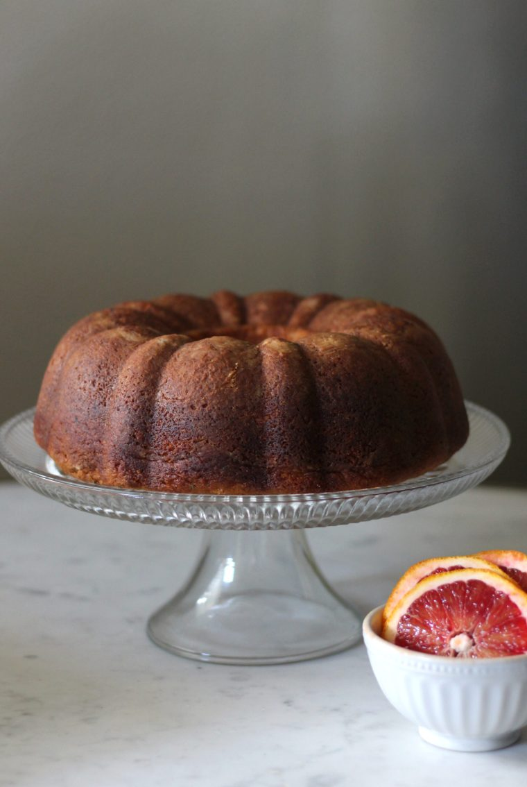 Buttery Black Sesame Pound Cake with Tart Blood Orange Glaze