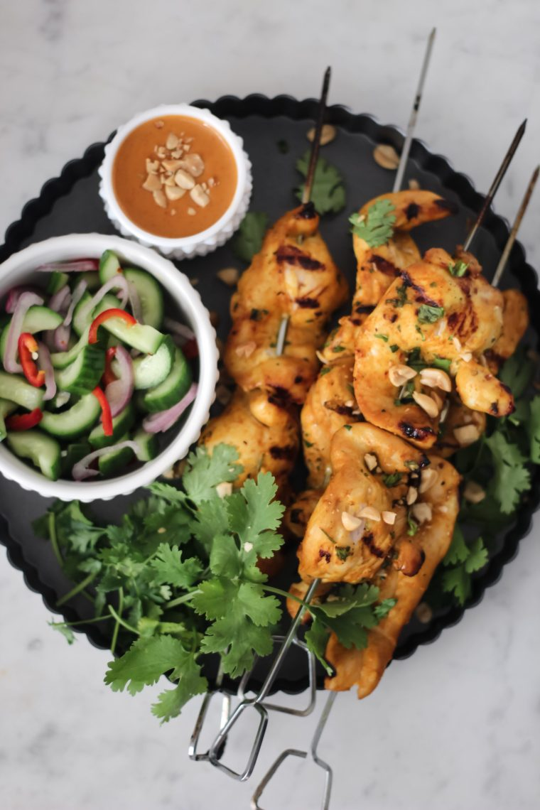 coconut curry chicken satay with peanut sauce