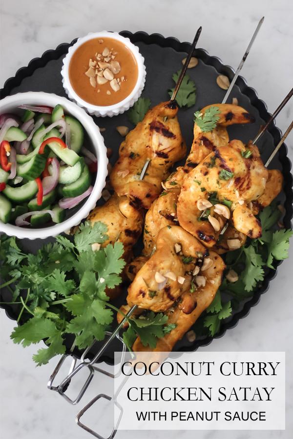 Coconut Curry Chicken Satay with Peanut Sauce | Serendipity by Sara Lynn