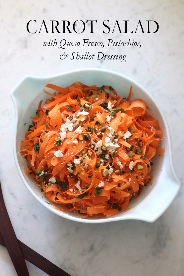Carrot Salad with Queso Fresco, Pistachios, & Creamy Shallot Vinaigrette | Serendipity by Sara Lynn