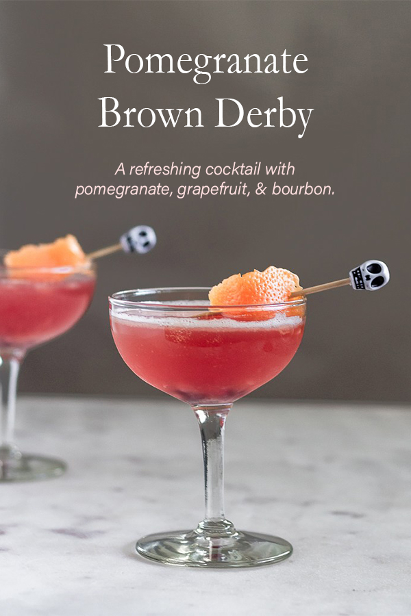 This Pomegranate Brown Derby combines bourbon, grapefruit, & pomegranate for a refreshing autumn cocktail.