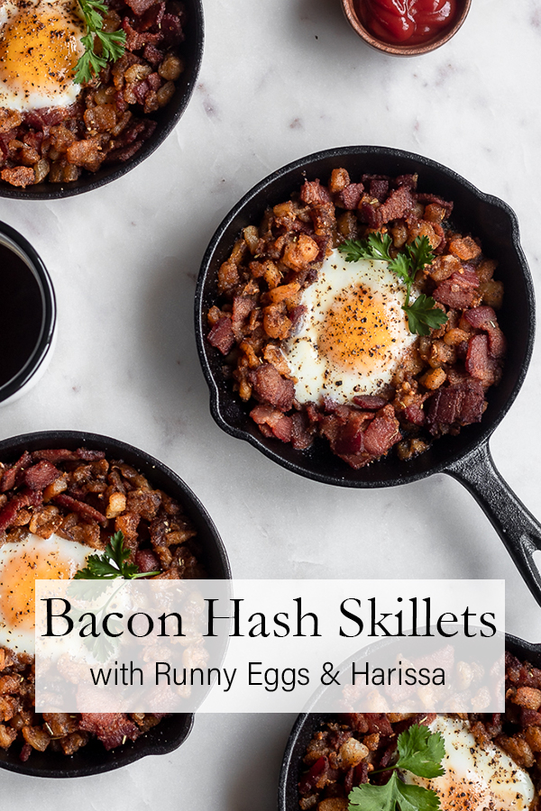 Bacon Hash Skillet with Runny Eggs & Harissa | Serendipity by Sara Lynn
