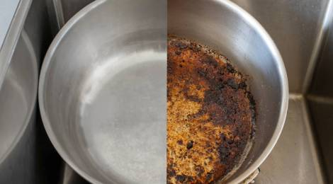4 trucos para dejar relucientes sartenes quemadas o sucias