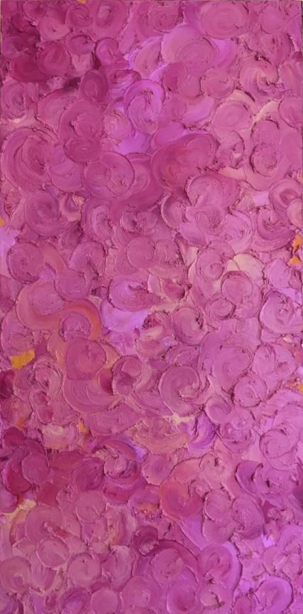 "Lilacs — oil pastels on birch panel — 12 x 24"" — $175"