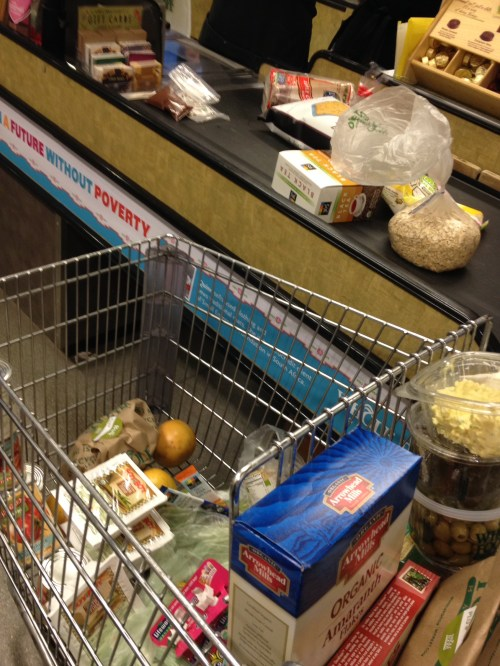 "My ""regular"" shopping complete, I went to Whole Foods for fancy things like prepared snacks for school and bulk organic grains."