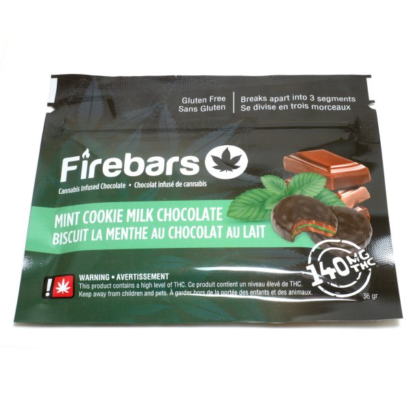 Fire Bars- Mint Cookie Milk Chocolate (140 MG THC) edibles Serene Farms Online Dispensary