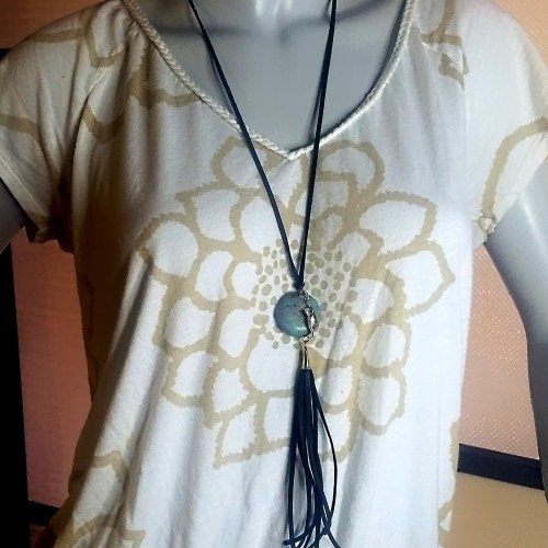 purple magnesite tassel necklace