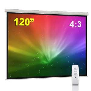 "BPS 120"" 4:3 Electric Projector Screen HD/3D/1080P Electric Motorised Matt White + Remote Control TV DVD Home Theatre/Office/Cinema"
